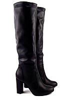 Женские зимние сапоги на толстом каблуке, натуральная кожа, черный