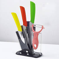 Керамические ножи на подставке 3шт.+овощечистка Хит продаж!