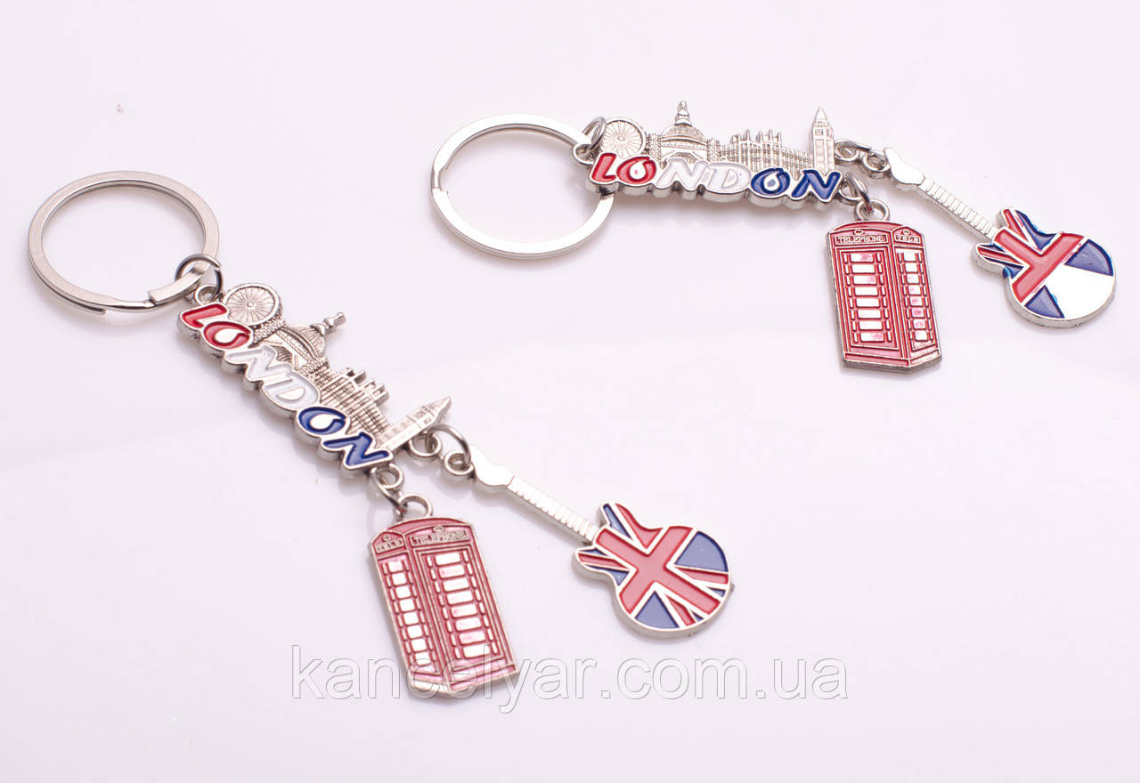 """Брелок для ключей металлический """"Лондон"""", в ассортименте"""