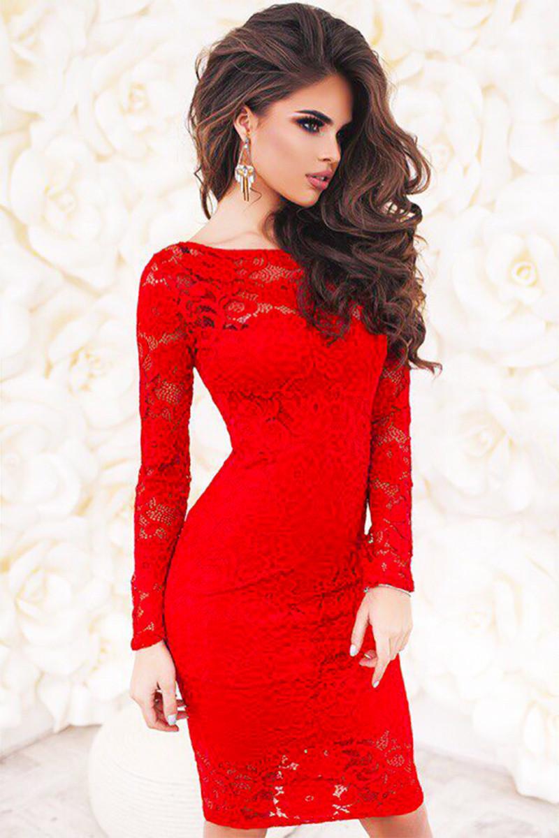 Мереживне червоне плаття -БЕЛІССІМО-
