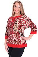 Приталенная блуза в красном цвете рукав-реглан