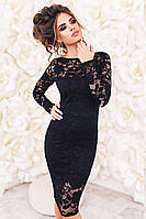 Черное гипюровое платье  -БЕЛИССИМО-