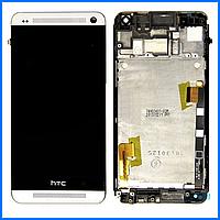 Дисплей (экран) для HTC One M7 802w Dual Sim + тачскрин, черный, с передней панелью белого цвета