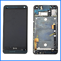 Дисплей (экран) для HTC One M7 802w Dual Sim + тачскрин, черный, с передней панелью черного цвета