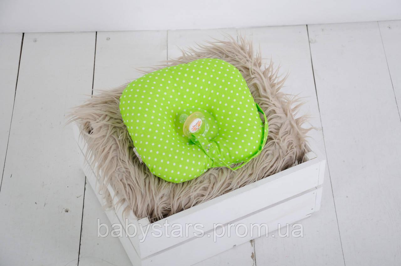 Детская подушка для новорожденных с держателем для пустышки, салатовая