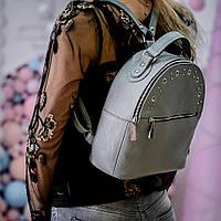 Женский рюкзак кожаный небольшого размера с заклепками. Рюкзак 90357