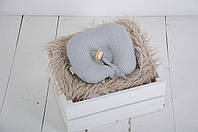 Детская подушка для новорожденных с держателем для пустышки, серая в графитовую точку, фото 1