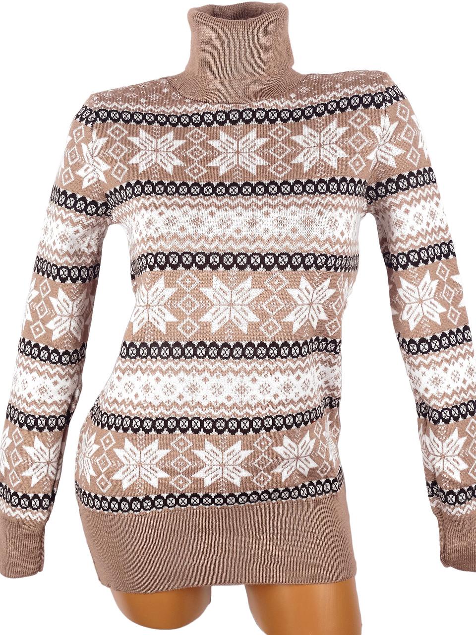 Красный свитер со снежинками 44-46 (в расцветках)