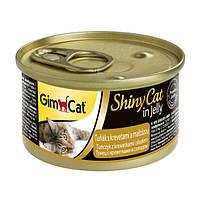 GimCat ShinyCat in Jelly tuna with shrimps and malt влажный корм для кошек с тунцом, креветками и солодом в желе, 70г