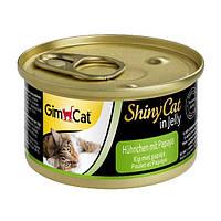 GimCat ShinyCat in Jelly Chicken with Papaya влажный корм для кошек с курицей и папайей в желе, 70г