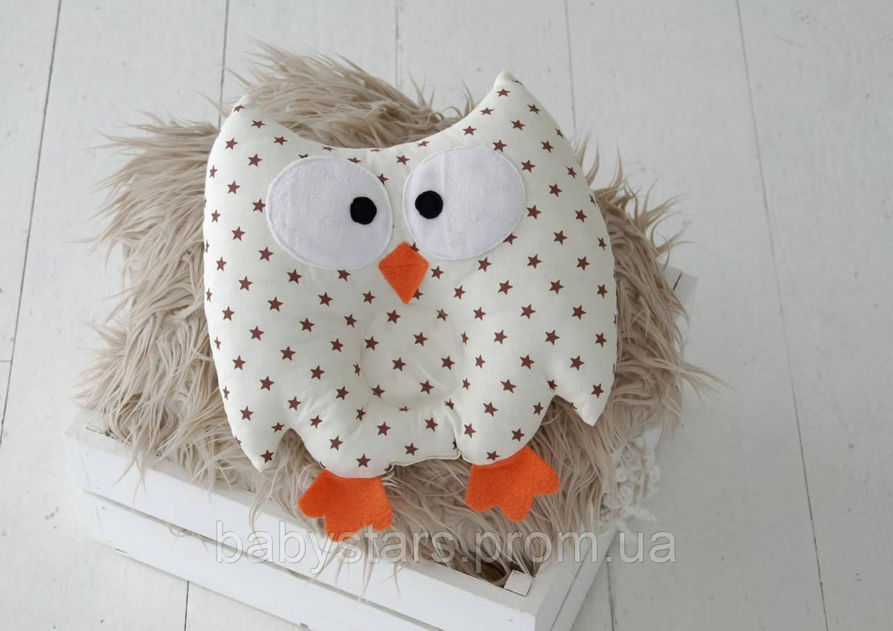 """Детская подушка-игрушка для новорожденных """"Совушка"""" коричневые звезды"""