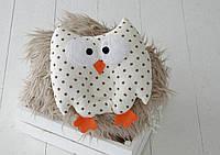 """Дитяча подушка-іграшка для немовлят """"Совушка"""" коричневі зірки, фото 1"""