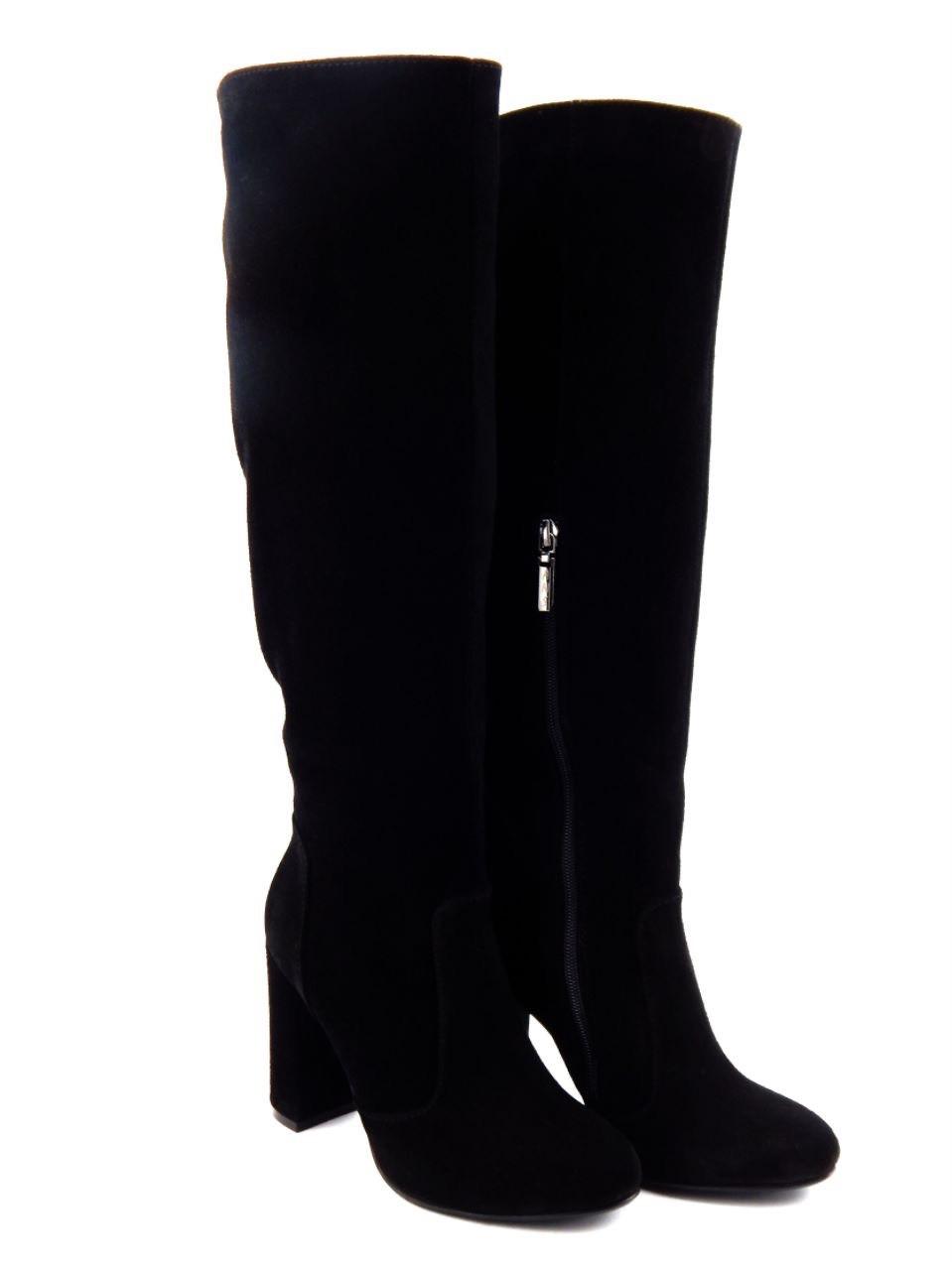 3b6f15181 Замшевые зимние сапоги на толстом каблуке, натуральная кожа, черный ...