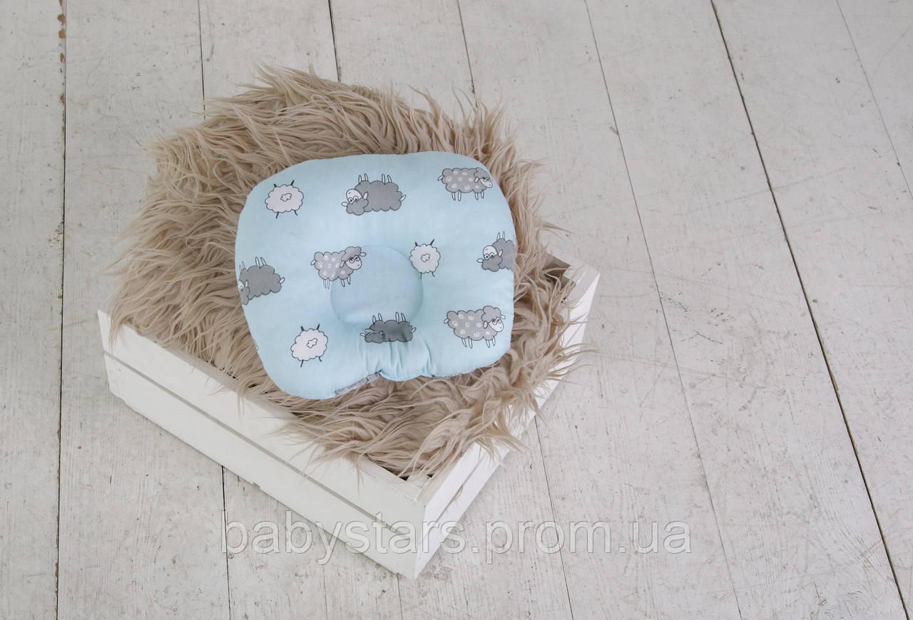 """Подушка для новонароджених """"Баранці"""" блакитні"""