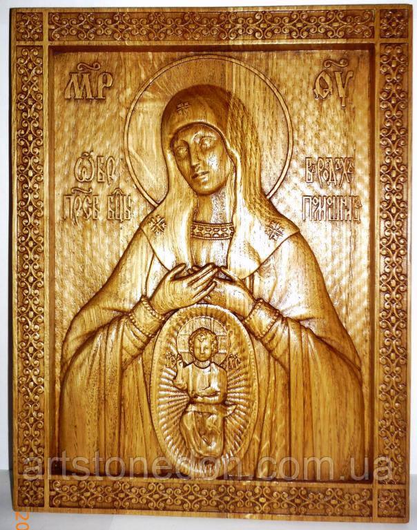"""Резная икона. Икона Божьей Матери """"В родах помощница"""""""
