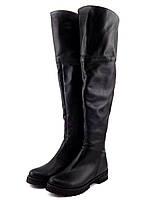 Зимние женские сапоги ботфорты на низком ходу, натуральная кожа, черный