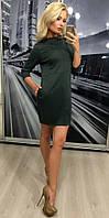 Трикотажное женское платье с карманами, графит
