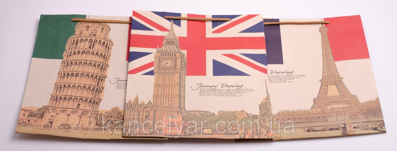Пакет подарочный бумажный, 28х37х10 см, в ассортименте