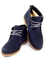 Зимние мужские ботинки, натуральная кожа (нубук), модель Vebster, синий