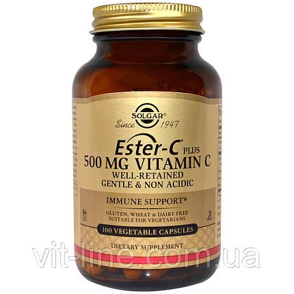 Solgar, Ester-C Plus, 500 мг витамина C, 100 вегетарианских капсул, фото 2