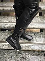 Зимние высокие кожаные черные  сапоги-ботфорды на платформе. Украина