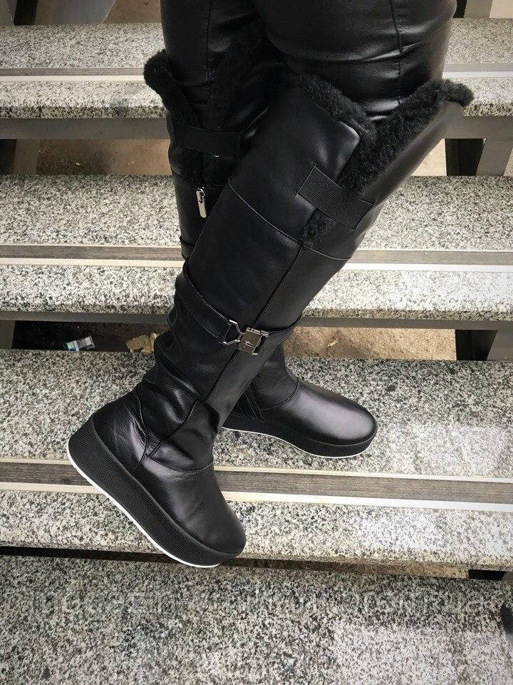 Зимние высокие кожаные черные сапоги-ботфорды на платформе. Украина ... 5d963c4a706