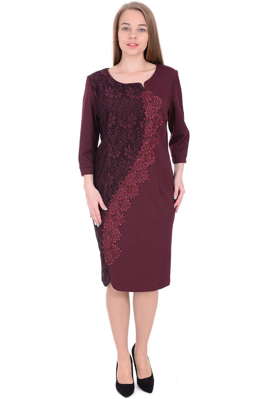 403b0065e8c Нарядное бордовое платье большого размера с кружевом от оптово ...