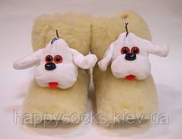 Меховые женские комнатные сапожки Собачка из овчины