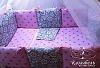 """Комплект в детскую кроватку """"Розовая влюбленность"""". Бортик на 4 стороны и постельное"""