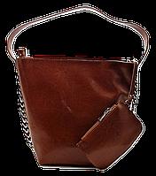Модная женская сумка из натуральной кожи рыжего цвета REE-043555