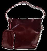 Модная женская сумка из натуральной кожи бордового цвета REE-043523