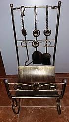 Кований набір до каміна з підставкою для дрів