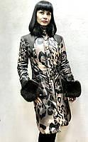 Пуховик пальто женский Balizza под леопарда приталенный с натуральным съемным мехом стильный молодежный, фото 1