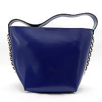 Чудесная женская сумка трапеция из экокожи синего цвета VVY-035881, фото 1