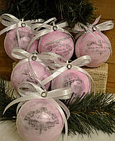 """Новогодние шары  """"Парижский шик розовый"""" 6 шт 7 см, фото 1"""