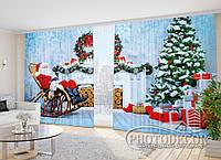 """Фото Шторы в зал """"Дед Мороз у камина"""" 2,7*4,0м (2 полотна по 2,0м), тесьма"""