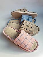 Женские тапочки для дома с открытым носом в клетку