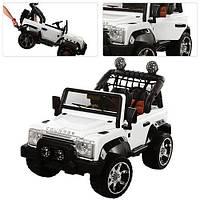 Детский электромобиль двухместный  Джип  M 3157 EBLR-1 белый ЕВА колеса с кожаным сиденьем белый