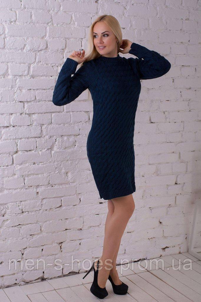 Женское  утепленное однотонное темно-синее  платье на каждый день.