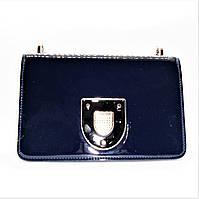 Женская лаковая сумочка из экокожи синего цвета DVW-450007, фото 1