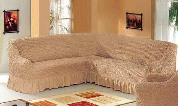 Чехол на угловой диван (бежевый) Karven Турция