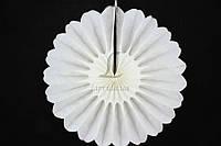 Бумажный подвесной веер, белый, 40 см