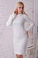 Платье утепленное облегающее белое на каждый день.