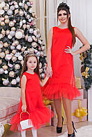 """Нарядное детское платье средней длины 4045 """"Фатин Миди Воланы"""" в расцветках"""