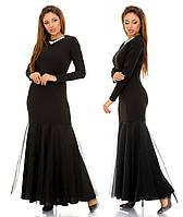 """Элегантное длинное вечернее платье в больших размерах 1834-1 """"Креп Годе Фатин Макси"""" в расцветках"""