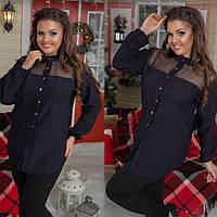 """Стильная женская нарядная рубашкам в больших размерах 271 """"Джинс Люрекс Кокетка Сетка"""" в расцветках"""