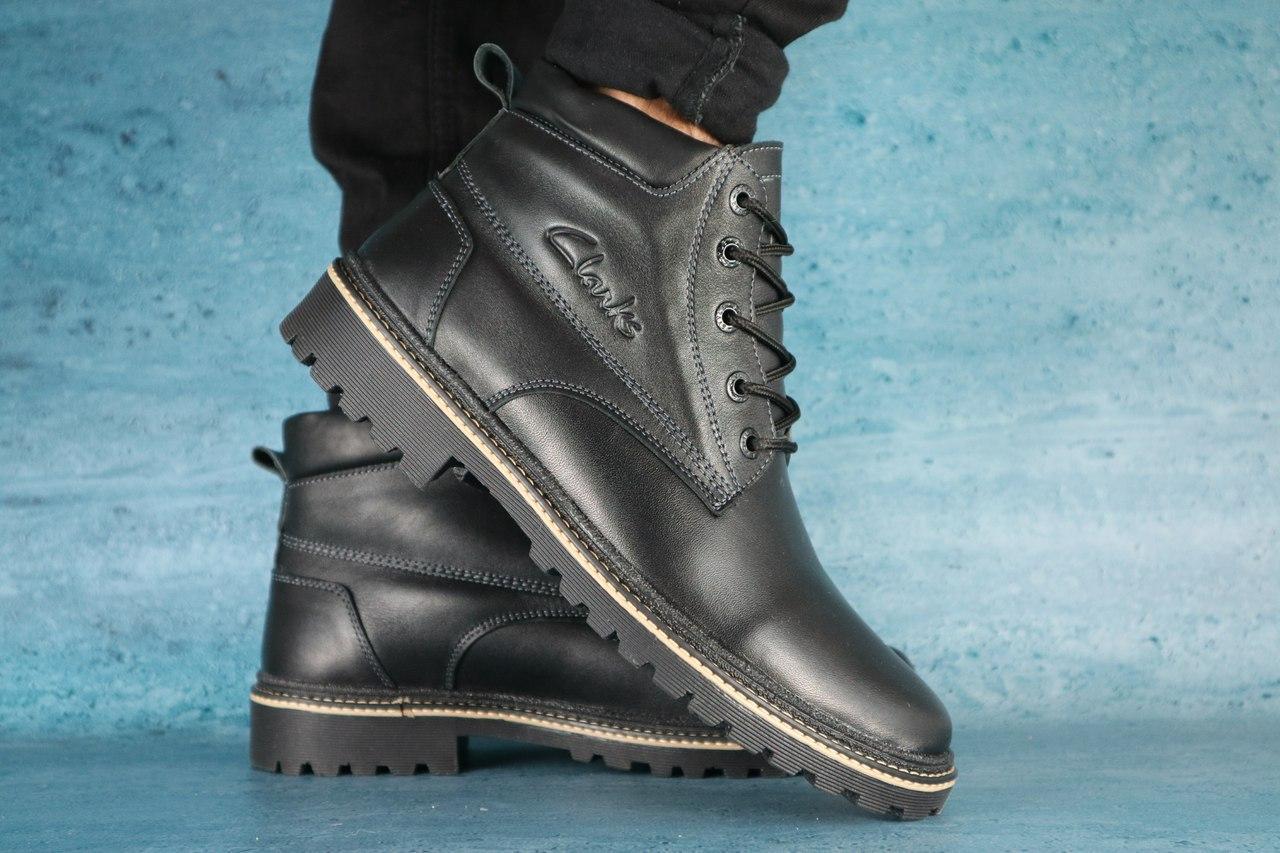 Мужские ботинки кожаные Clarks,черные,на меху