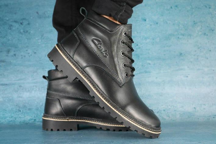Мужские ботинки кожаные Clarks,черные,на меху, фото 2