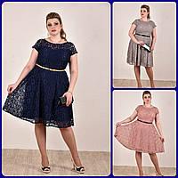 Платье синее серое розовое летнее батал из гипюра с коротким рукавом 770296-1,размеры 42,44,46,48,50,52