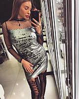Платье Doratti модное трапеция мини пайетка-хамелеон декорировано сеткой-мушкой SMdor2056
